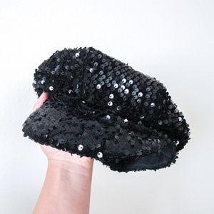 Chic Black Sequin Hat Cap